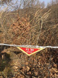 En mycket vanlig syn i DMZ, stora områden är minerade. (foto NNSC)