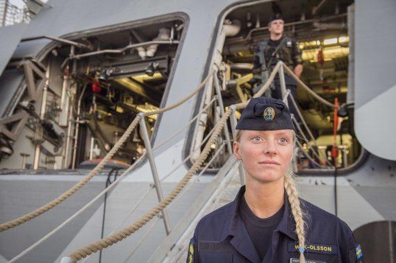 Kajvakt i Ystad. Embarkering HMS Nyköping och Noco16.