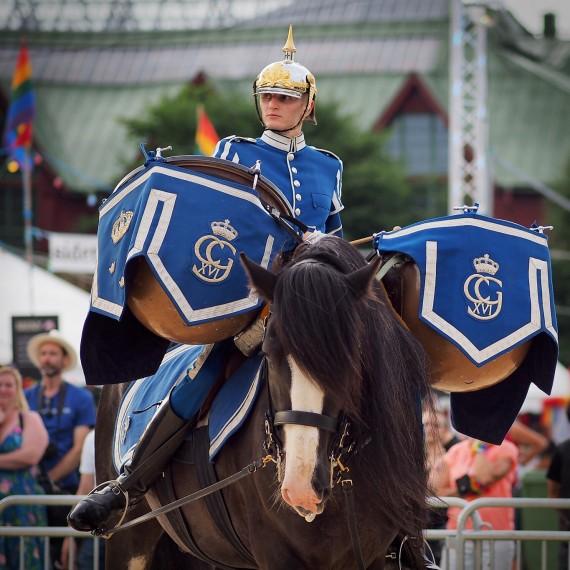 Beriden pukslagare i Livgardets Dragoners kornblå uniform