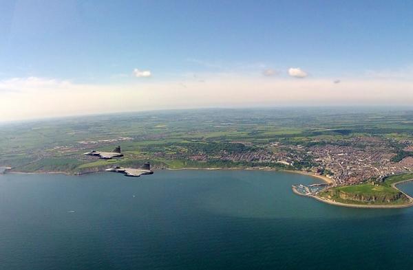 Bilden visar en rote JAS39 över Nordsjön strax utanför Englands ostkust. Foto: Mj Stefan Engström, TU JAS