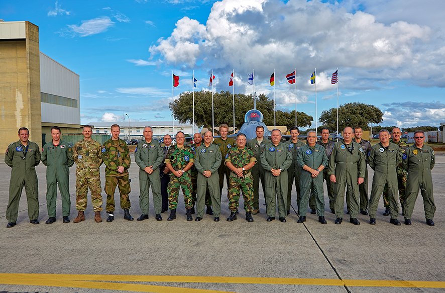 On 27 October the Portuguese Chief of Defence Staff, General Artur Pina Monteiro, and the Air Chief, General José Pinheiro visited Beja Air Base. Group Picture with the Senior National Representatives from the nations deployed to Beja. Photo: Portuguese Air Force