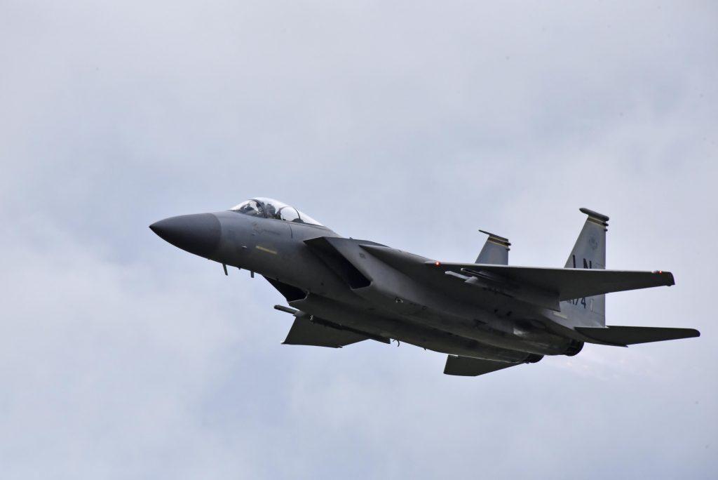 F-15 från US Air Force deltog i markutställningen för de hade ingen uppvisningspilot i Europa.