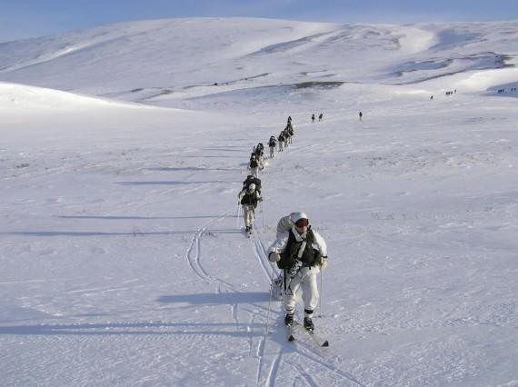 Skidmarsch. Foto: Arméns jägarbataljon.