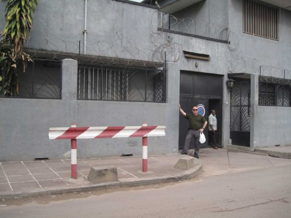 "The ""Guatemala house"" where we are staying while we are in Kinshasa. The window closest to me on the left is our room :-)"