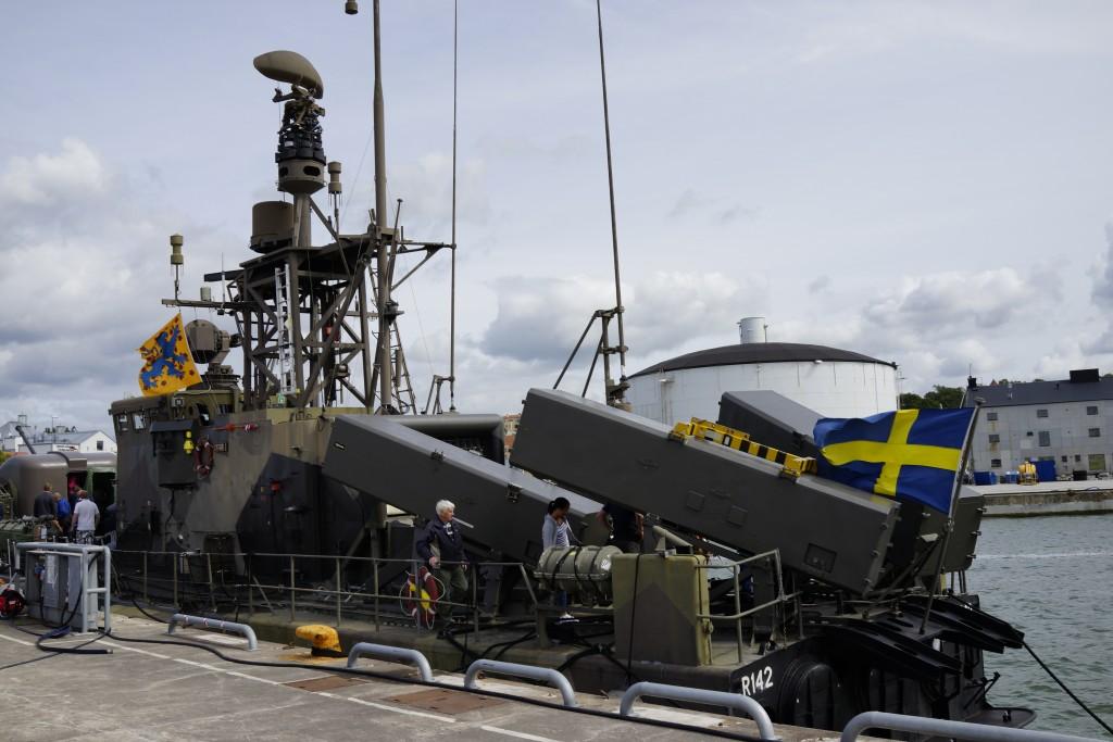 Tidigare robotbåten HMS Ystad, numera M/S Ystad, veteranfartyg i Visby Hamn sommaren 2015.