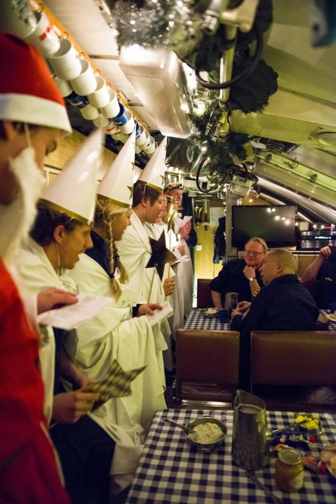 Luciatåg i ubåten Södermanlands mäss (foto: A Sannerman/1.ubflj)