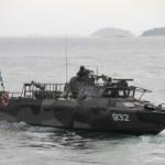 Andra amfibiebataljonen förflyttar sig med både stridsbåtar, svävare, lätta trossfärjor och annat under övningen