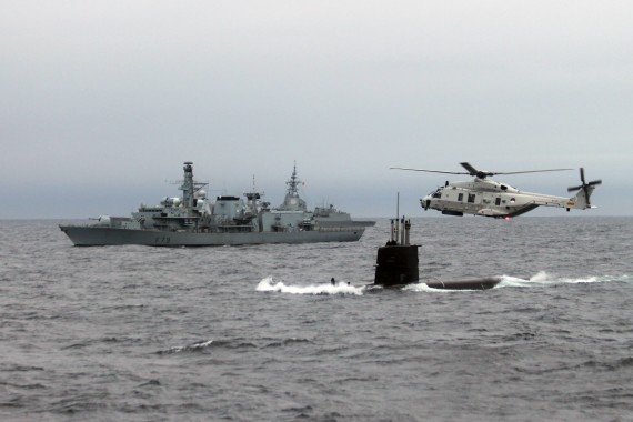 Exercice DYNAMIC MONGOOSE - Units in formation - 04 MAY 2015 photo by WO C.ARTIGUES (HQ MARCOM).   NATO's Submarine Warfare Exercise DYNAMIC MONGOOSE 2015 (DMON 15) began on May 04th to 14th off the coast of Norway, with ships, submarines, aircrafts and personnel from 10 Allied and 1 partner nations converging on the Norwegian Sea for anti-submarine and anti-surface warfare training.