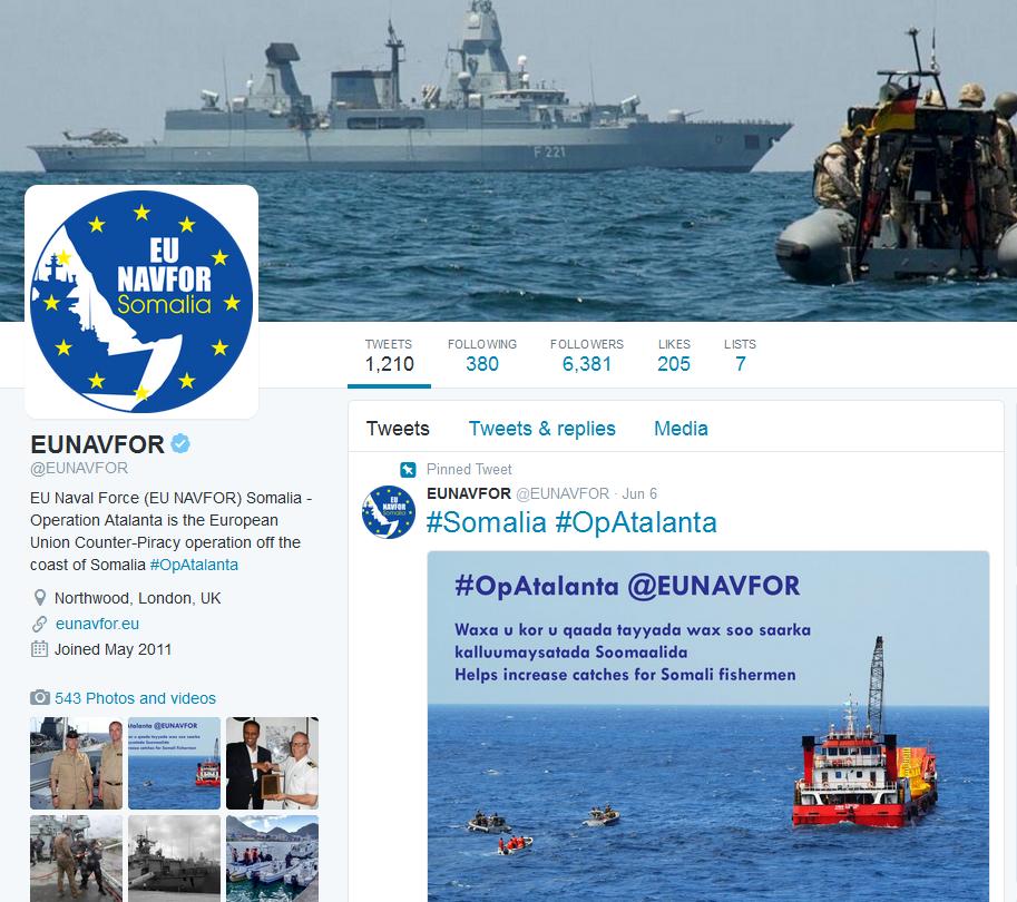 Operation Atalanta använder twitter för att nå ut till fler om operationens verksamhet och betydelse
