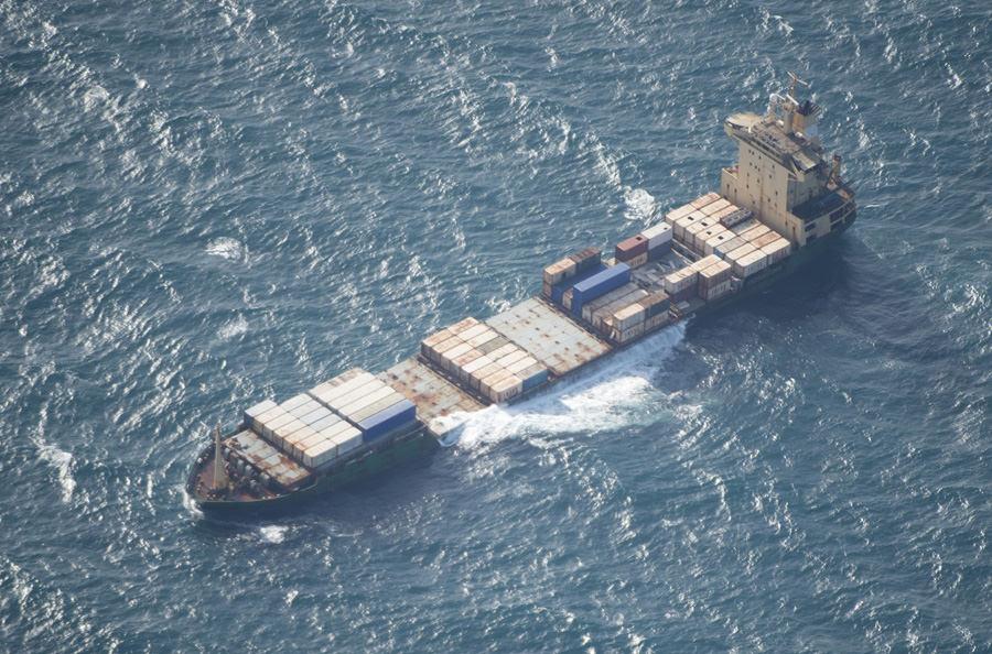 Det kapade fartyget MV Albedo någon dag innan hon sjönk. Foto Försvarsmakten