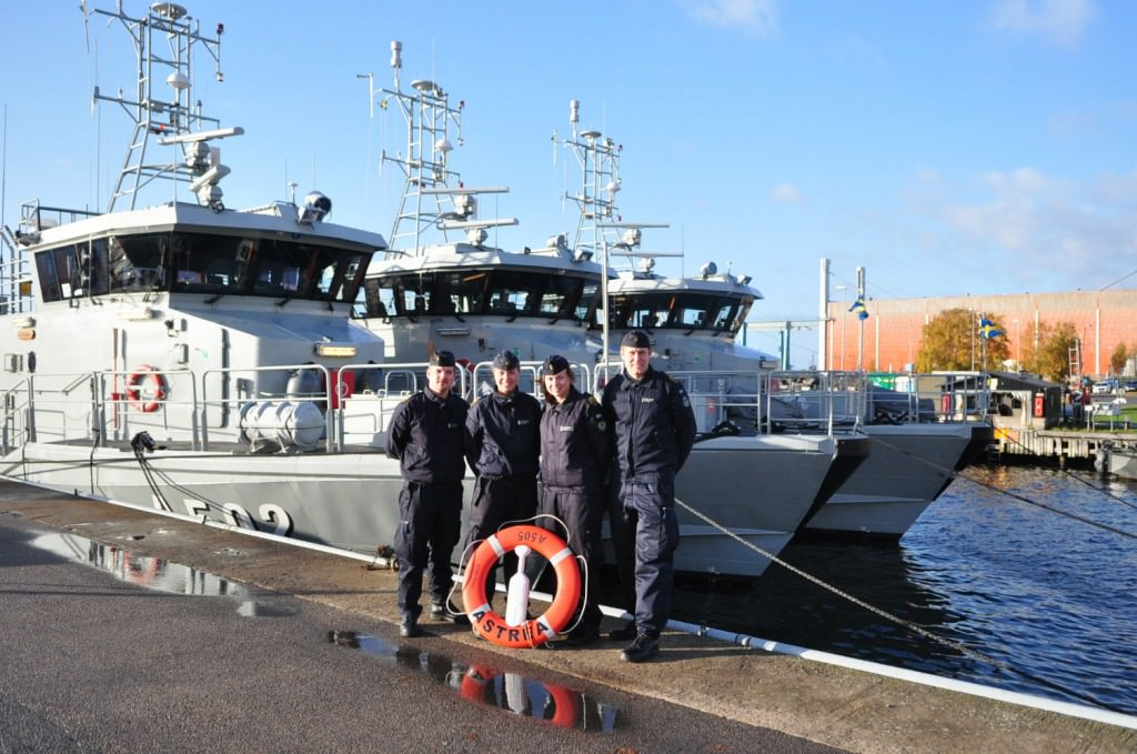 Eleverna på HMS Astrea, Flaggkadetterna Sjödin, Hultberg, Kaur och Olsen