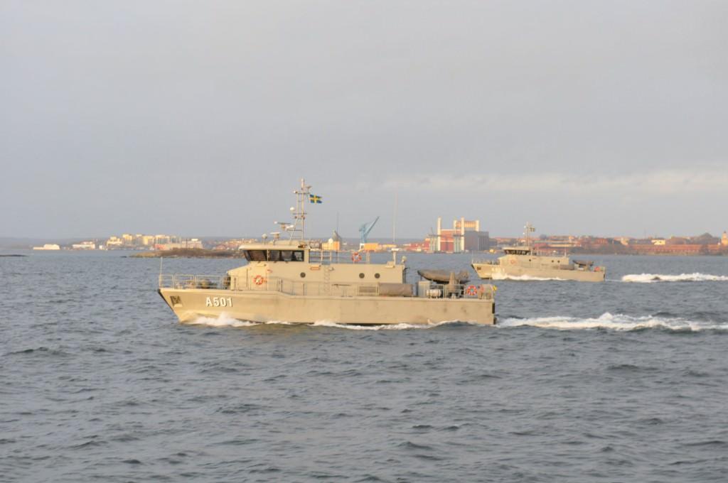 Fartygen i formation i Karlskrona skärgård