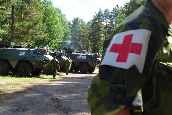 Sjukvårdare deltog under övningen med sjukvårdsberedskap.